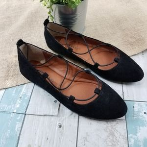 Lucky Brand Black Leather Aviee Flats Strappy 7M